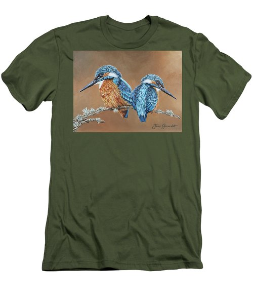 Men's T-Shirt (Slim Fit) featuring the painting Kingfishers by Jane Girardot