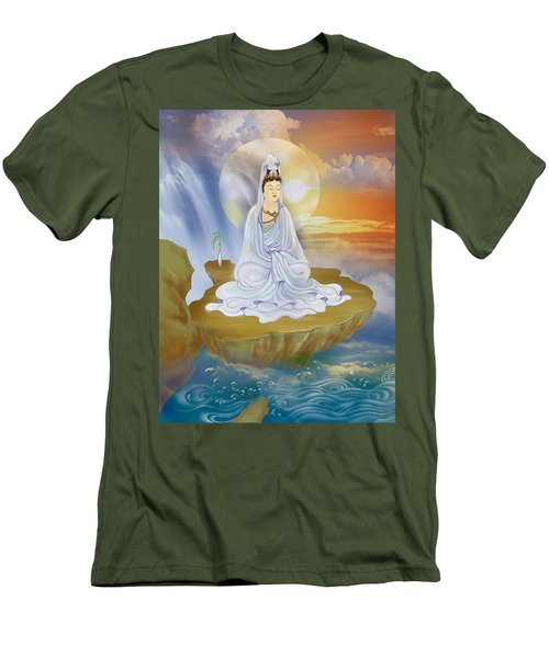 Men's T-Shirt (Slim Fit) featuring the photograph Kwan Yin - Goddess Of Compassion by Lanjee Chee