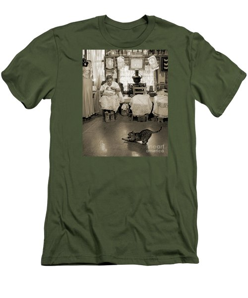 Men's T-Shirt (Slim Fit) featuring the photograph Lace Lady Of Burano-bw by Jennie Breeze