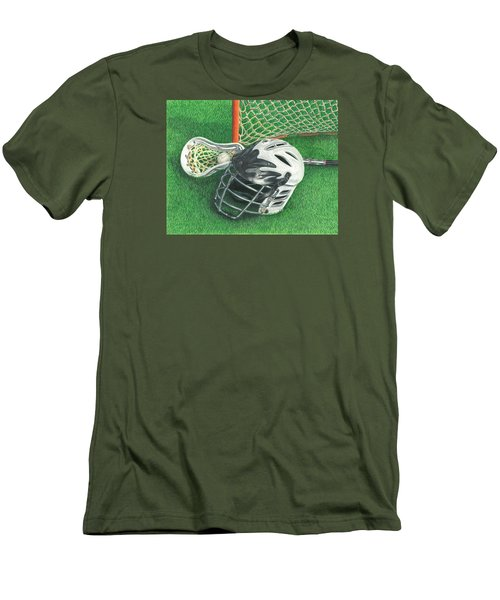 Men's T-Shirt (Slim Fit) featuring the drawing Lacrosse by Troy Levesque