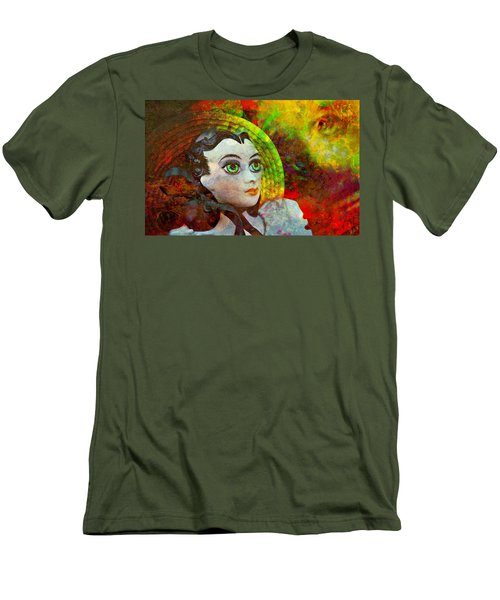 Men's T-Shirt (Slim Fit) featuring the mixed media Lady In Red by Ally  White
