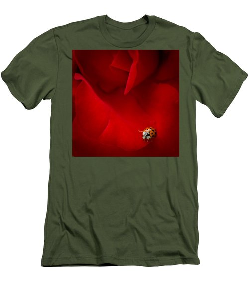 Ladybird In Rose Men's T-Shirt (Athletic Fit)