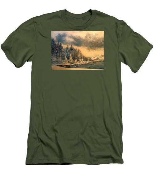 Men's T-Shirt (Slim Fit) featuring the painting Lake Tahoe Winter Colors 2 by Donna Tucker