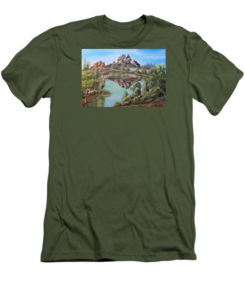 Lakehouse Men's T-Shirt (Slim Fit) by Remegio Onia