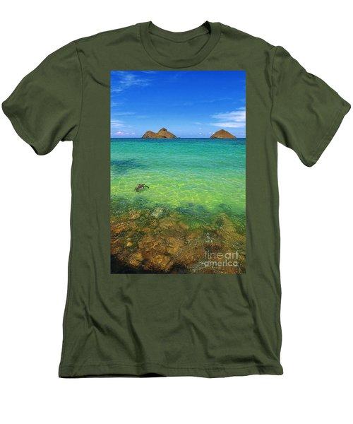 Lanikai Beach Sea Turtle Men's T-Shirt (Slim Fit) by Aloha Art