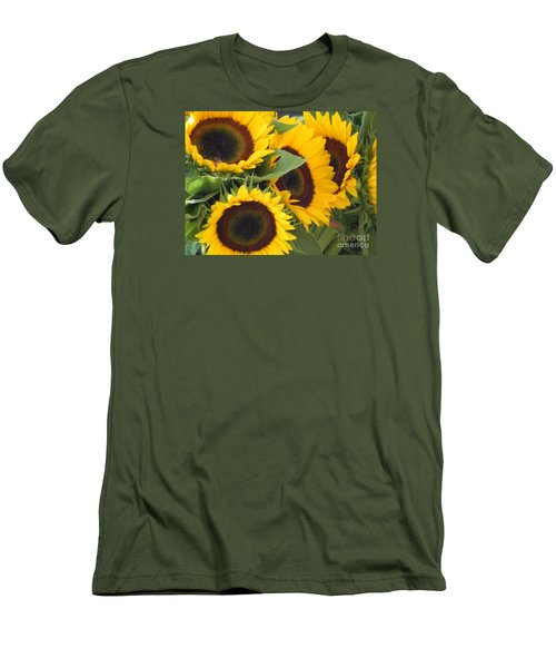 Large Sunflowers Men's T-Shirt (Slim Fit) by Chrisann Ellis