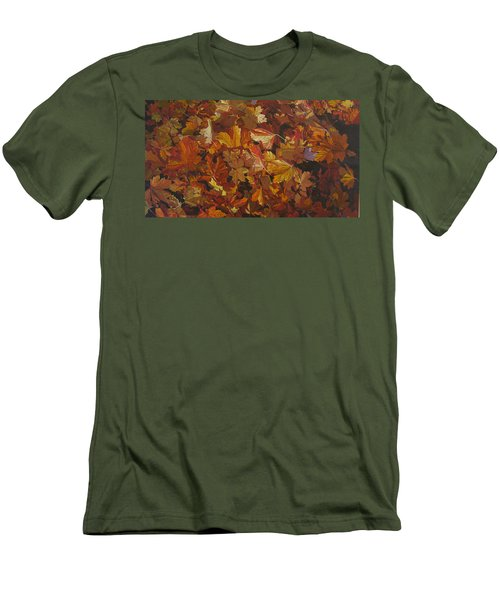 Men's T-Shirt (Slim Fit) featuring the painting Last Fall In Monroe by Thu Nguyen