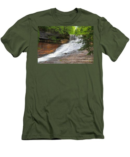 Men's T-Shirt (Slim Fit) featuring the photograph Laughing Whitefish Waterfall by Terri Gostola