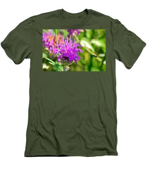 Men's T-Shirt (Slim Fit) featuring the photograph Lavender Pink Bee Balm Wild Bergamot by Karon Melillo DeVega