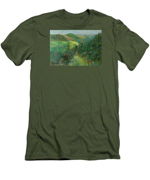 Layers Of Mountain Ranges Colorful Original Landscape Oil Painting Men's T-Shirt (Slim Fit) by Elizabeth Sawyer