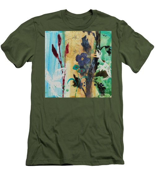 Men's T-Shirt (Slim Fit) featuring the painting Leaf Flower Berry by Robin Maria Pedrero
