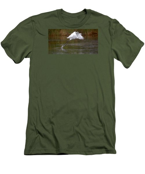 Leaping Egret Men's T-Shirt (Athletic Fit)