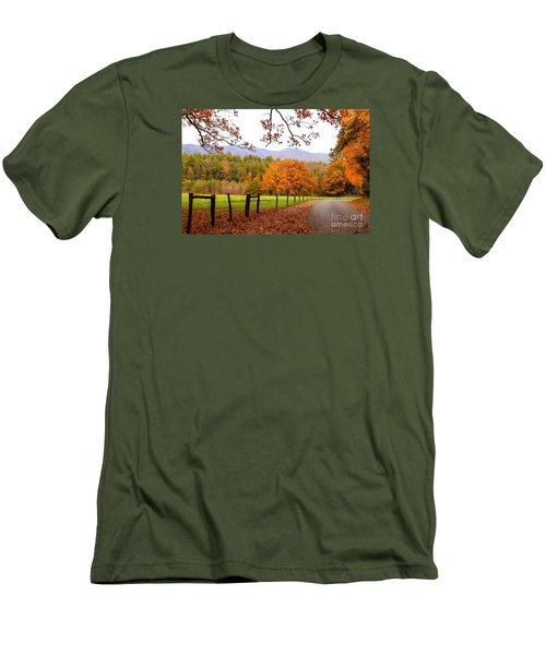Men's T-Shirt (Slim Fit) featuring the photograph Leaves A'fallin by Geraldine DeBoer