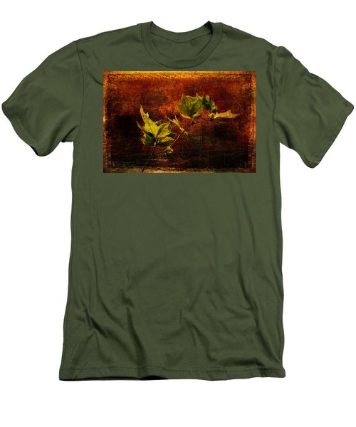 Leaves On Texture Men's T-Shirt (Athletic Fit)