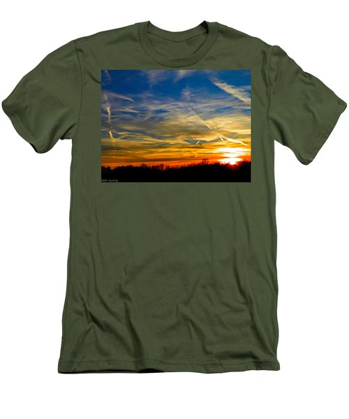 Leavin On A Jetplane Sunset Men's T-Shirt (Athletic Fit)