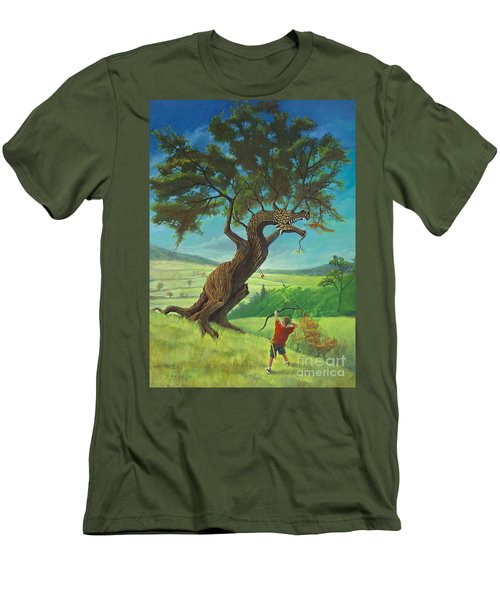 Men's T-Shirt (Slim Fit) featuring the painting Legendary Archer by Rob Corsetti