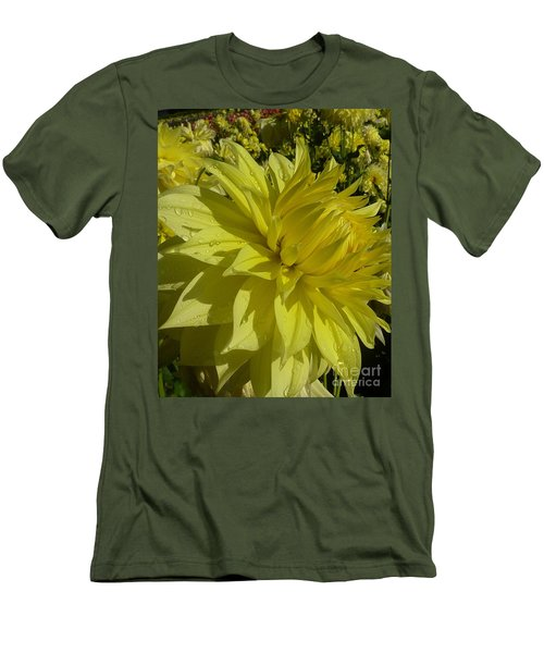 Lemon Yellow Dahlia  Men's T-Shirt (Slim Fit) by Susan Garren