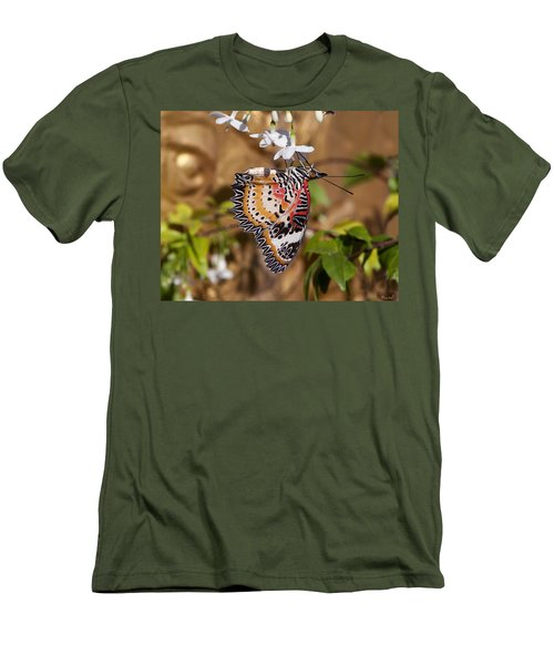 Men's T-Shirt (Slim Fit) featuring the photograph Leopard Lacewing Butterfly Dthu619 by Gerry Gantt