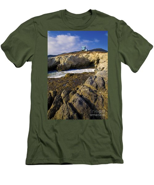 Lifeguard Tower On The Edge Of A Cliff Men's T-Shirt (Slim Fit) by David Millenheft