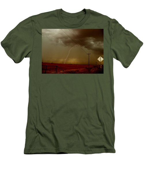 Men's T-Shirt (Slim Fit) featuring the photograph Lightning Strike In Oil Country by Ed Sweeney