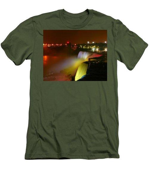 Lights On Niagara Falls Men's T-Shirt (Slim Fit) by Richard Engelbrecht