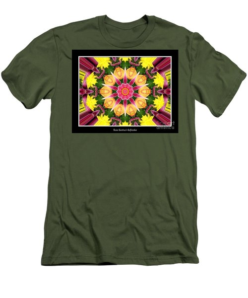Men's T-Shirt (Slim Fit) featuring the photograph Lily And Chrysanthemums Flower Kaleidoscope by Rose Santuci-Sofranko
