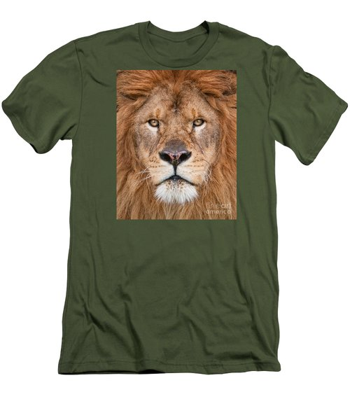 Men's T-Shirt (Slim Fit) featuring the photograph Lion Close Up by Jerry Fornarotto