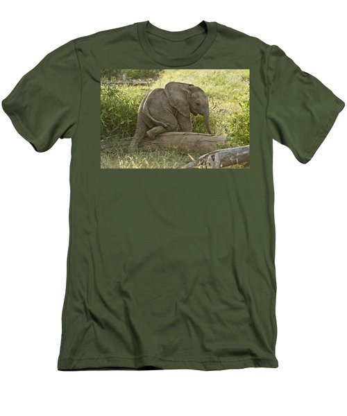 Little Elephant Big Log Men's T-Shirt (Athletic Fit)