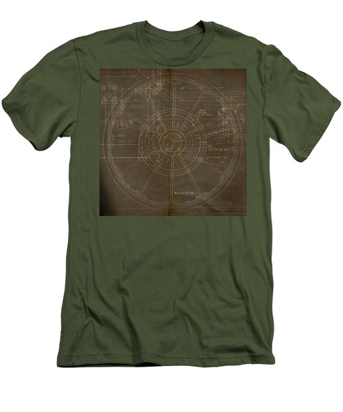 Men's T-Shirt (Slim Fit) featuring the painting Locomotive Wheel by James Christopher Hill