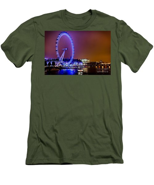 Men's T-Shirt (Slim Fit) featuring the photograph London Eye Night Glow by Matt Malloy
