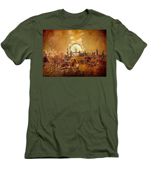 London Skyline Old Vintage  Men's T-Shirt (Athletic Fit)