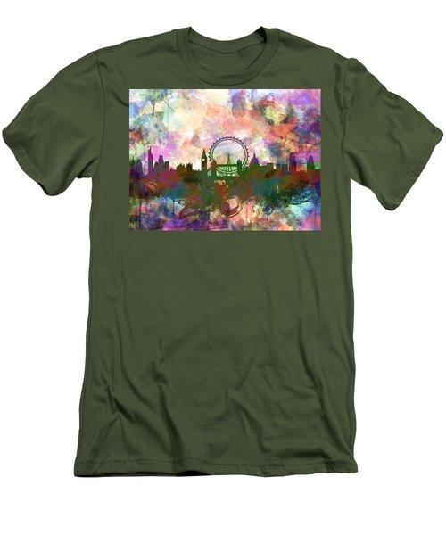 London Skyline Watercolor Men's T-Shirt (Athletic Fit)