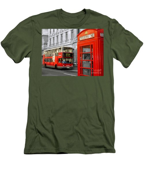 London With A Touch Of Colour Men's T-Shirt (Slim Fit) by Nina Ficur Feenan