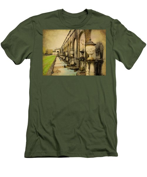 Men's T-Shirt (Slim Fit) featuring the photograph Longwood Gardens Fountains by Trina  Ansel