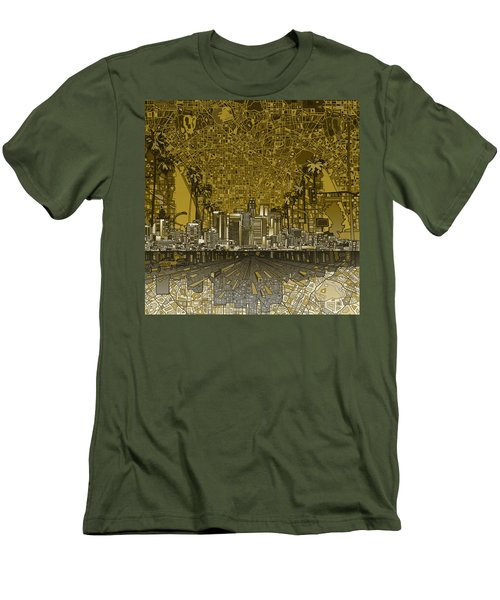 Los Angeles Skyline Abstract 4 Men's T-Shirt (Athletic Fit)