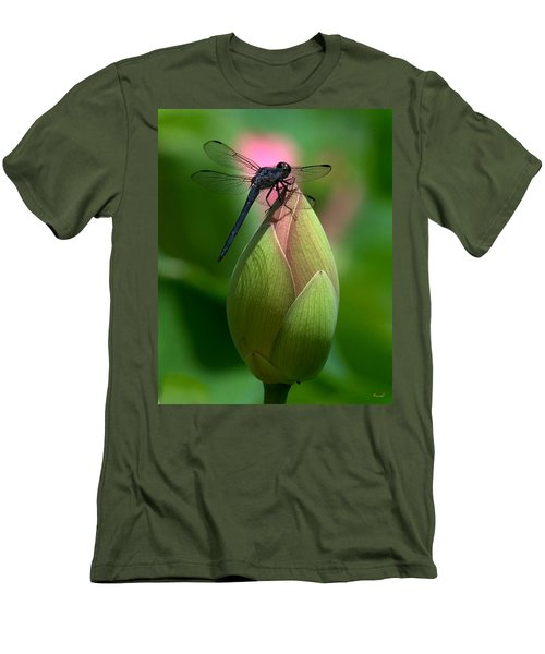 Men's T-Shirt (Slim Fit) featuring the photograph Lotus Bud And Slatey Skimmer Dragonfly Dl006 by Gerry Gantt