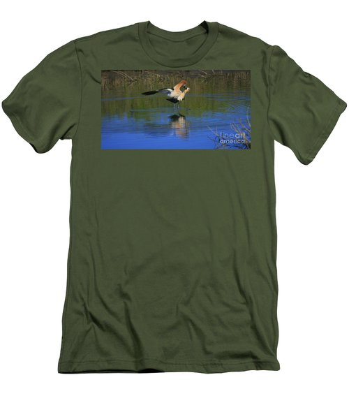 Men's T-Shirt (Slim Fit) featuring the photograph  Courtship Cross by John F Tsumas