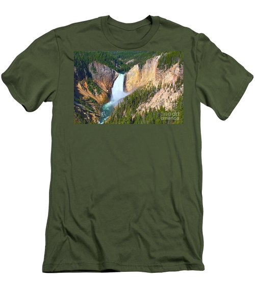 Men's T-Shirt (Slim Fit) featuring the photograph Lower Falls Yellowstone 2 by Teresa Zieba