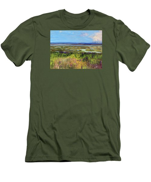 Lupine Of Fort Hill Men's T-Shirt (Slim Fit) by Michael Helfen
