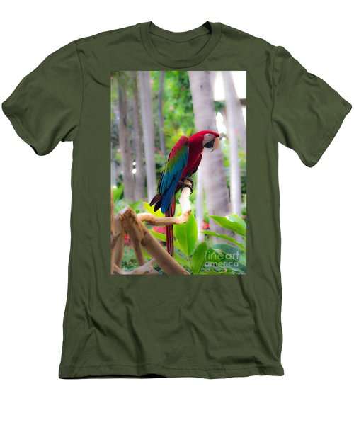 Men's T-Shirt (Slim Fit) featuring the photograph Macaw by Angela DeFrias
