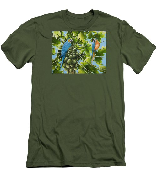Macaw Parrots In Papaya Tree Men's T-Shirt (Athletic Fit)