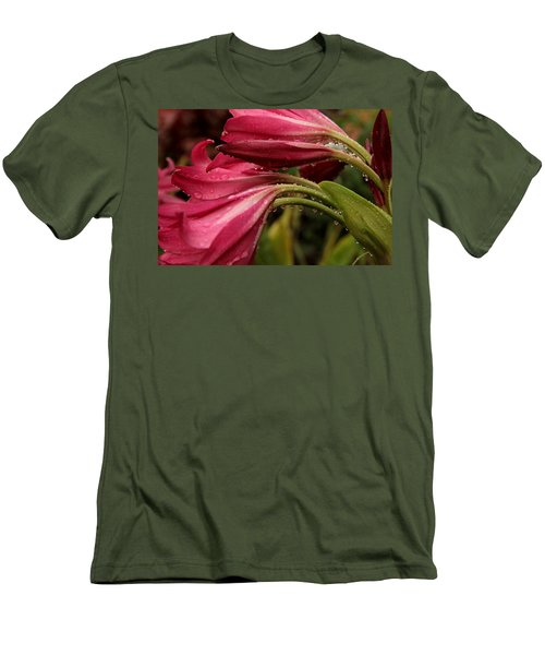 Men's T-Shirt (Slim Fit) featuring the photograph Magenta Rain by Greg Allore