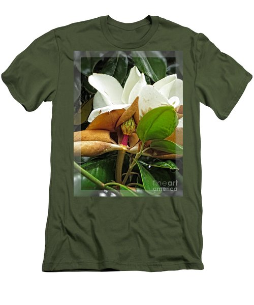 Men's T-Shirt (Slim Fit) featuring the photograph Magnolia Flowers - Flower Of Perseverance by Ella Kaye Dickey