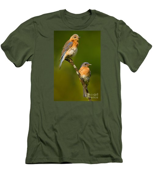 Men's T-Shirt (Slim Fit) featuring the photograph Male And Female Bluebirds by Jerry Fornarotto