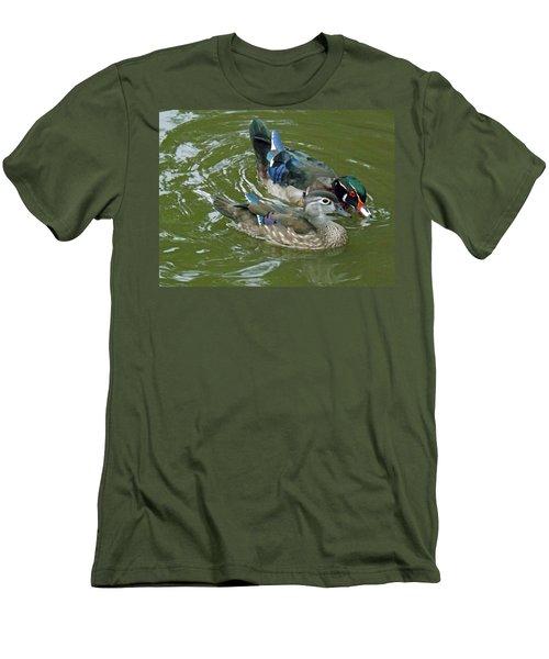 Male And Female Wood Ducks Men's T-Shirt (Slim Fit) by Brenda Brown