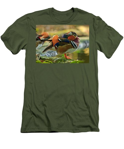 Men's T-Shirt (Slim Fit) featuring the photograph Male Mandarin Duck On A Rock by Eti Reid