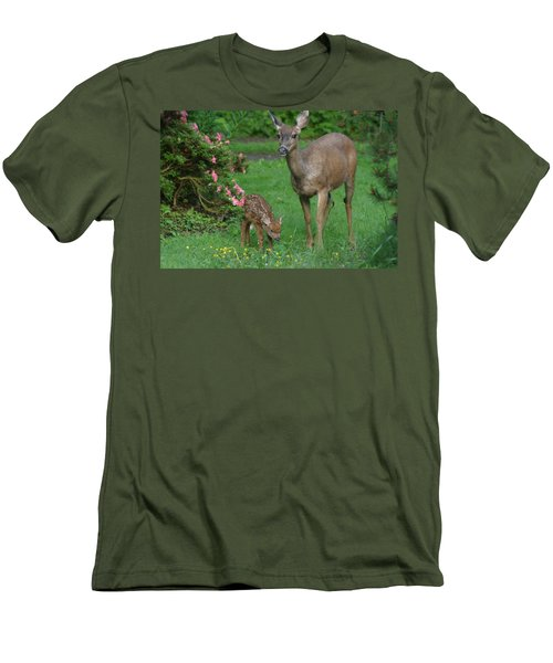 Mama Deer And Baby Bambi Men's T-Shirt (Slim Fit) by Kym Backland