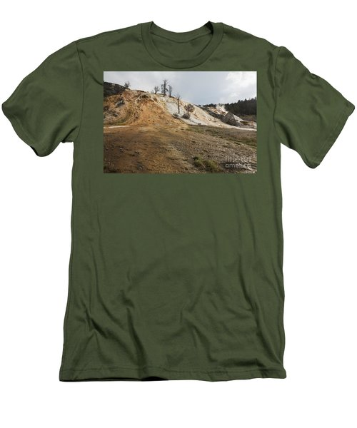 Men's T-Shirt (Slim Fit) featuring the photograph Mammoth Hot Springs by Belinda Greb