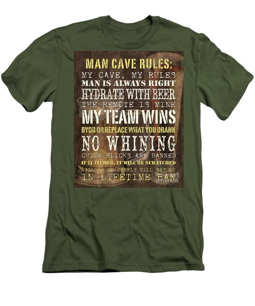 Man Cave Rules 2 Men's T-Shirt (Athletic Fit)
