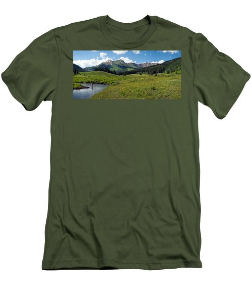 Man Fly-fishing In Slate River, Crested Men's T-Shirt (Athletic Fit)